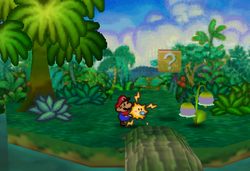 Image of Mario revealing a hidden? Block in Jade Jungle, in Paper Mario.