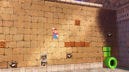 E3 2017 screenshot of 8-bit Mario in the Tostarena Ruins of the Sand Kingdom in Super Mario Odyssey.
