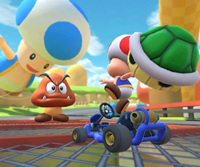 The icon of the Toad Cup challenge from the New York Tour and the Dry Bones Cup challenge from the Flower Tour in Mario Kart Tour.