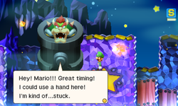 Bowser asking Mario and Luigi to let him out of the Cannon in Mario & Luigi: Superstar Saga and Mario & Luigi: Superstar Saga + Bowser's Minions