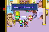 Mario and Luigi receiving the Hammers in Mario & Luigi: Superstar Saga and Mario & Luigi: Superstar Saga + Bowser's Minions