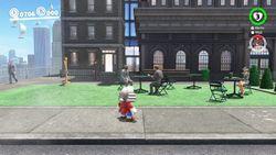 A screenshot of the Outdoor Café from Super Mario Odyssey.