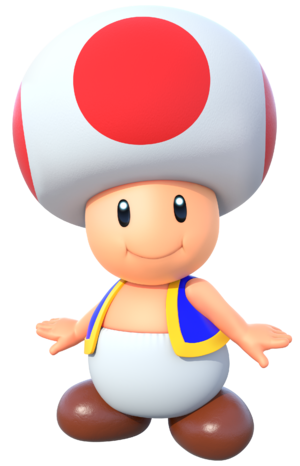 Artwork of Toad from Mario Party 10 (also used in Super Mario Run, Mario Party: The Top 100 and Mario Kart Tour)