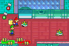 Mario about to counterattack a Spiny in Mario & Luigi: Superstar Saga and Mario & Luigi: Superstar Saga + Bowser's Minions