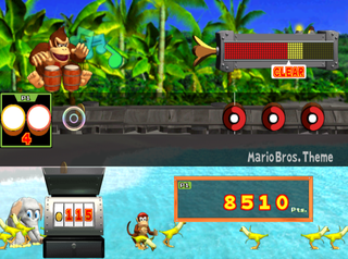 Gameplay of Street Performance mode of Donkey Konga, with a beach background.