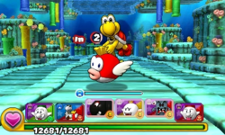 Screenshot of World 4-5, from Puzzle & Dragons: Super Mario Bros. Edition.