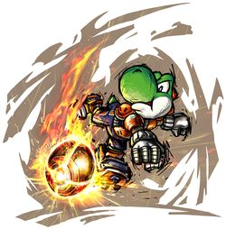 Yoshi's artwork from Mario Strikers Charged.