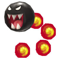 A Flame Chomp in New Super Mario Bros. 2