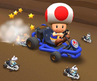 The icon of the Yoshi Cup challenge from the Super Mario Kart Tour and the Ice Mario Cup challenge from the 2021 Los Angeles Tour in Mario Kart Tour.