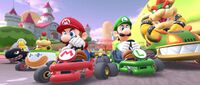 Mario, Luigi, Bowser, Bowser Jr., Boomerang Bro, and Fire Bro participating in the Wedding Tour's 2-Player Challenge in Mario Kart Tour