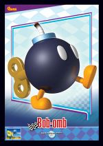 The Bob-omb card from the Mario Kart Wii trading cards