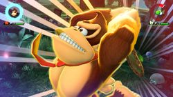 Donkey Kong performing his Special Shot, the Barrel Cannon Chaos