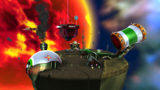 """A screenshot of Bowser Jr.'s Boom Bunker during the """"Bowser Jr.'s Boomsday Machine"""" mission from Super Mario Galaxy 2."""