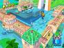 "Screenshot of Delfino Plaza during ""Event 10: The Flood"" from Super Mario Sunshine."