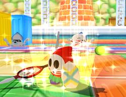 Shy Guy performing the Spear Dance Return in Mario Power Tennis