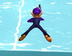 Waluigi using the Swimming Return in Mario Power Tennis
