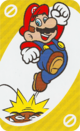 The Yellow Skip card from the UNO Super Mario deck (featuring Mario and a Goomba)