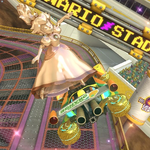 Pink Gold Peach performing a trick. Mario Kart 8.