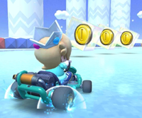 The icon of the Pauline Cup challenge from the Ice Tour and the Roy Cup challenge from the Snow Tour in Mario Kart Tour