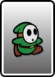 A Green Shy Guy card from Paper Mario: Color Splash