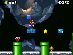 Mario hitting an invisible block in World 1-2
