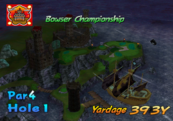 A screnshot of the intro video of hole 1 in bowser badlands.