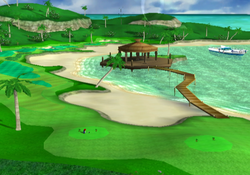 View of Blooper Bay in Mario Golf: Toadstool Tour.