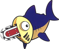 Artwork of a Chain-Saw Fish from Virtual Boy Wario Land
