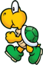 Image of a green Koopa Troopa, this artwork is often used in merchandise of the character.