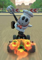 Shy Guy (Pastry Chef) performing a trick.