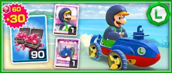 The Penguin Luigi Pack from the Mario vs. Luigi Tour in Mario Kart Tour
