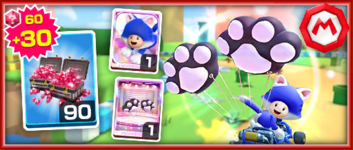 The Team Mario Cat Toad Pack from the Mario vs. Peach Tour in Mario Kart Tour