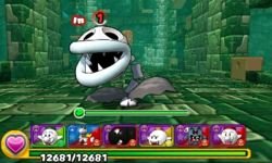 Screenshot of World 4-Tower, from Puzzle & Dragons: Super Mario Bros. Edition.