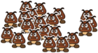 A Small Goomba Gang from Paper Mario: Color Splash.