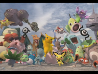 A group of Pokémon appear during the intro.