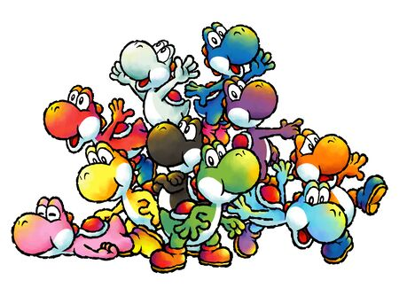 Concept artwork of all the ten different colored Yoshis.