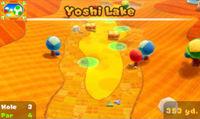 Yoshi Lake third hole in the game Mario Golf: World Tour.