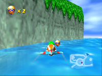 Tiptup flies to a Golden Balloon at the far end of the Timber's Island coast in Diddy Kong Racing.