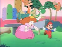 """Mario and Princess Toadstool, being attacked by the """"Chickadactyl-turned"""" Luigi and Yoshi"""