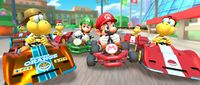 Mario, Luigi, Red Koopa (Freerunning), and Gold Koopa (Freerunning) participating in the 2-Player Challenge in Mario Kart Tour
