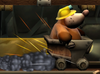 Mole Miner riding on a Minecart
