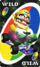 The Wild card from the Nintendo UNO deck (featuring Wario)