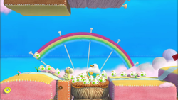 Fluffin' Puffin Babysitting in Yoshi's Woolly World