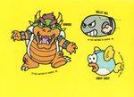 Individual stickers of Bowser, Bullet Bill, and Cheep Cheep from the Nintendo Game Pack tip card #23