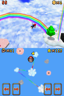 The special level Over The Rainbows as seen in Super Mario 64 DS