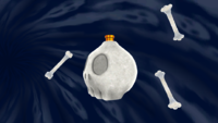 "A screenshot of Boo's Boneyard Galaxy during the ""Racing the Spooky Speedster"" mission from Super Mario Galaxy."
