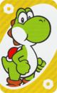 The Yellow Zero card from the UNO Super Mario deck (featuring Yoshi)
