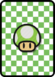 A 1-Up Mushroom Card in Paper Mario: Color Splash.