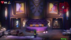 Luigi exploring the Master Suite in Luigi's Mansion 3.