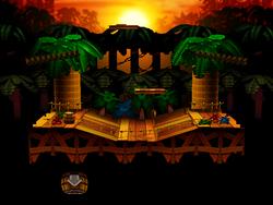 Kongo Jungle, in Super Smash Bros. for Nintendo 64 (top), Super Smash Bros. Melee (top-middle), Super Smash Bros. for Wii U (bottom-middle), and Super Smash Bros. Ultimate (bottom)